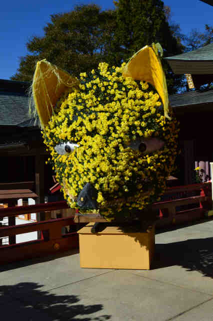 笠間菊飾り拝殿左 笠間稲荷神社拝殿に飾られているキツネの菊飾り、拝殿左側(左)、同じく拝...